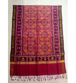 Traditional Patan Patola Single Ikkat Handloom Red Colour Silk Dupatta For Women & Girls