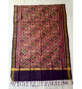 Traditional Patan Patola Single Ikkat Handloom Red & Violet Colour Silk Dupatta For Women