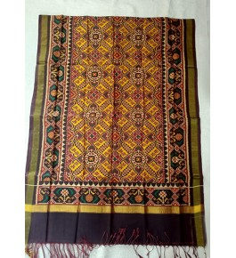 Traditional Patan Patola Single Ikkat Handloom Yellow & Black Colour Silk Dupatta For Women