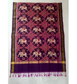 Traditional Patan Patola Single Ikkat Handloom Pure Pink & Purple Colour Silk Dupatta For Women
