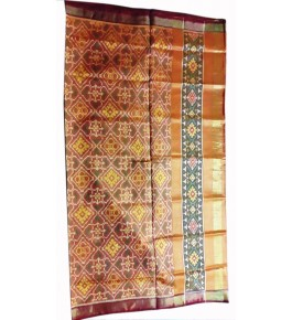 Patan Patola Handloom Orange Saree By Shree Nageshvari Patola Art