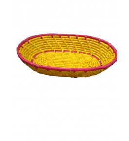 Hand Woven Natural Grass Moonj Basket Oval Tray (34x24x7) By Rekhakriti