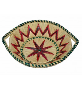 Handwoven Natural Grass Moonj Basket Server with Handle (25x16x8) By Rekhakriti