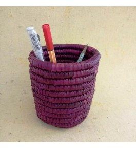 Handwoven Natural Grass Moonj Pen Stand For Home & Office By Rekhaakriti