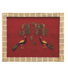 Handwoven Silk Thread Embroidered Traditional Peacock Design Chamba Rumal