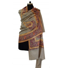 Hand Woven Authentic Brown Pashmina Shawl for Women