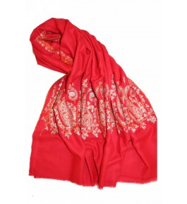 Hand Embroidered Red Kashmir Pashmina Shawl for Women
