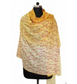 Hand Embroidered Yellow-Off White Kashmir Pashmina Shawl for Women