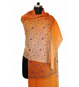 Hand Embroidered Yellow Pashmina Stole for women