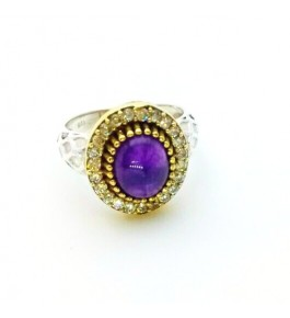 Silver Amethyst AD Ring For Girls & Women