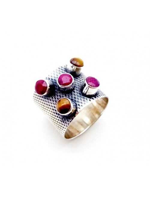 Silver Ruby Tiger Ring For Girls & Women