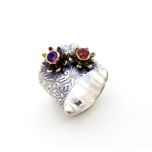 Silver Amethyst Red Ring For Girls & Women