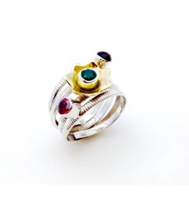 Silver Red Green Garnet Ring For Girls & Women