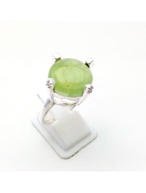 Silver Prehnite Ring For Girls & Women