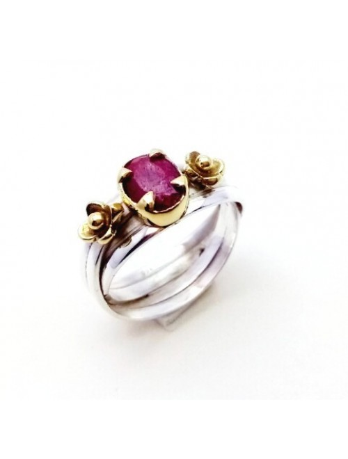 Silver Ruby Ring For Girls & Women