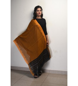 Orissa Ikat Handloom Cotton Yellow Dupatta For Women