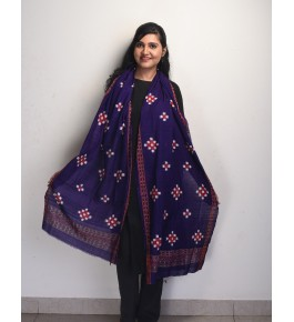 Orissa Ikat Handloom Cotton Blue Dupatta For Women