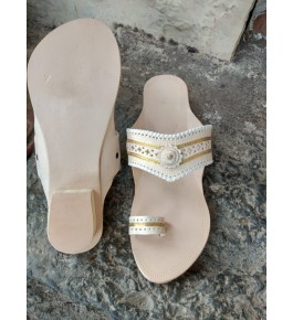 Leather Beige Color Kolhapuri Chappal Of Karnataka For Women
