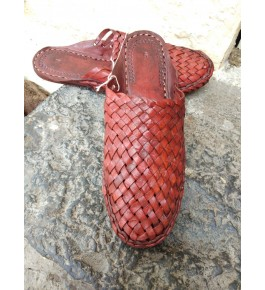 Leather Maroon Color Kolhapuri Chappal Of Karnataka For Men