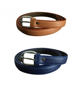 Verceys Texture Leather Finish Belts For Women (Pack Of 2)