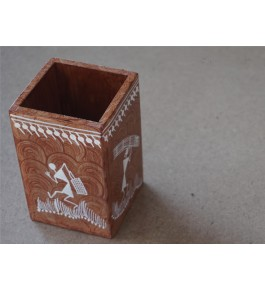 Warli Painting Art Wooden Pen Holder By Adivasi Yuva Seva Sangh