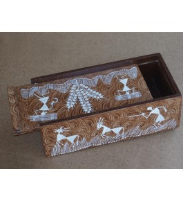 Warli Painting Art Wooden Sliding Cover Box By Adivasi Yuva Seva Sangh