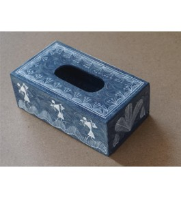 Warli Painting Art Wooden Tissue Holder Box By Adivasi Yuva Seva Sangh