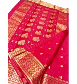 Chanderi Sarees Katan Silk Red Saree With Beautiful Border & Blouse Piece  For Women By Shree Guru Kripa Chanderi Saree