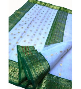 Chanderi Sarees Katan Silk White Saree With Beautiful Border & Blouse Piece  For Women By Shree Guru Kripa Chanderi Saree