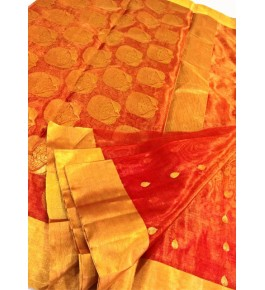 Chanderi Sarees Katan Tissue Silk Orange  Saree With Beautiful Border & Blouse Piece For Women By Ruhi Chanderi Fabric