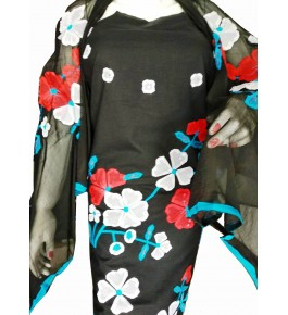 Beautiful Designer Patch Work Black Suit (Unstitched) For Women By Snowdrop