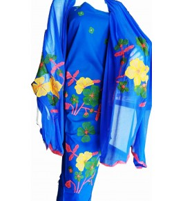 Beautiful Designer Patch Work Blue Color Suit For Women By Snowdrop