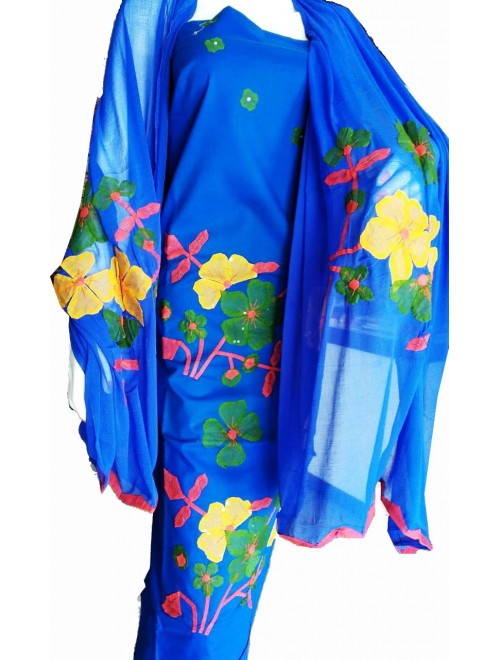 Beautiful Designer Patch Work Blue Suit (Unstitched) For Women By Snowdrop