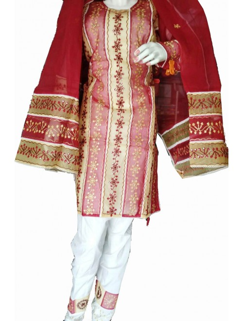 Beautiful Applique Work Maroon Suit (Unstitched) For Women By Snowdrop