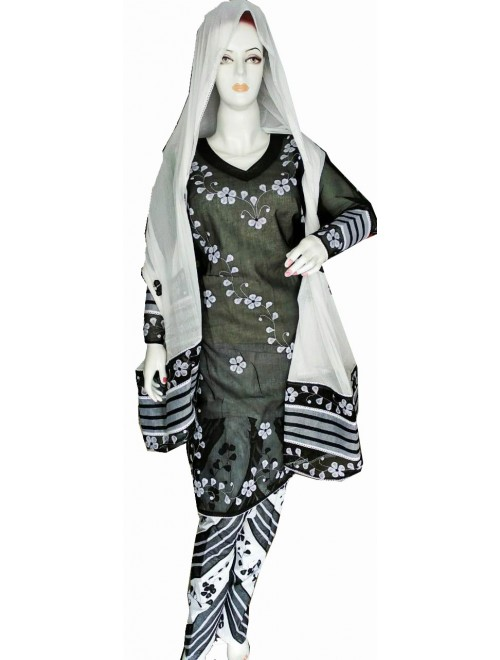 Beautiful Applique Work Black Suit (Unstitched) For Women By Snowdrop