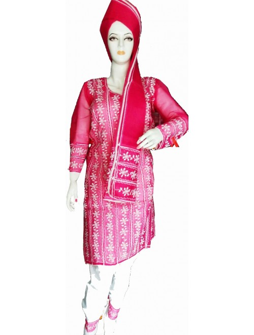 Beautiful Applique Work Red Suit (Unstitched) For Women By Snowdrop