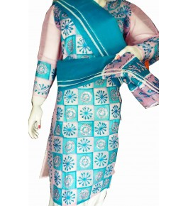 Beautiful Applique Work Sky Blue Suit (Unstitched) For Women By Snowdrop