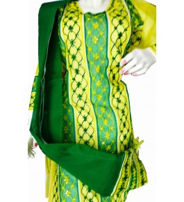 Beautiful Applique Work Green Suit (Unstitched) For Women By Snowdrop
