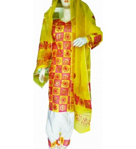Beautiful Applique Work Yellow Suit (Unstitched) For Women By Snowdrop