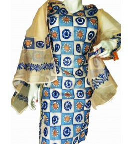 Beautiful Applique Work Multicolor Suit (Unstitched) For Women By Snowdrop