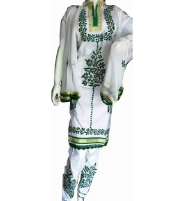 Beautiful Designer Patch Work White Suit (Unstitched) For Women By Snowdrop