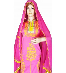 Beautiful Designer Patch Work Pink Suit (Unstitched) For Women By Snowdrop