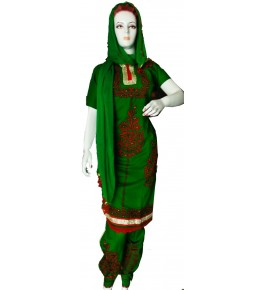 Beautiful Designer Patch Work Green Suit (Unstitched)  For Women By Snowdrop