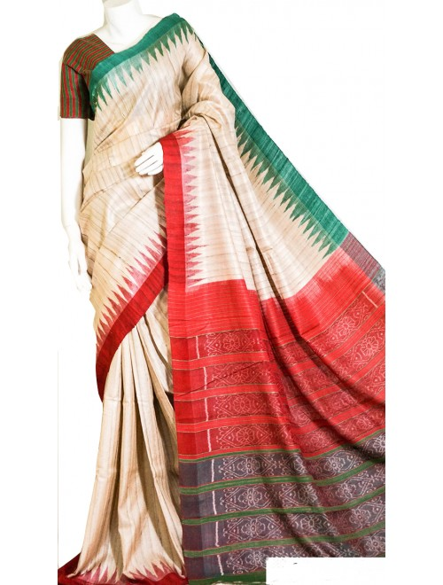 Handloom Tussar Silk Cream Saree For Women By Santosh Handloom