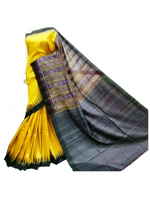 Tussar Silk Yellow Saree With Black Weaving Border For Women By Santosh Handloom