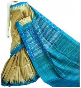 Tussar Silk Green & Sky Blue Saree With Weaving Border For Women By Santosh Handloom