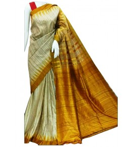 Tussar Silk Golden Weaving Border Cream Saree For Women By Santosh Handloom