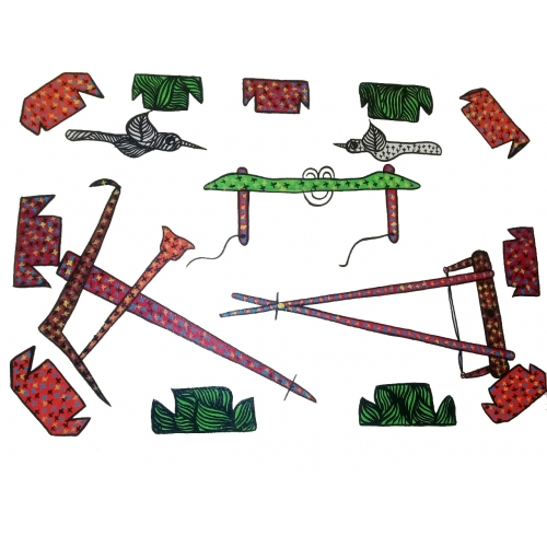 Handmade Colorful Indian Farmer's Tools Paper Art Painting By Santosh Paraste
