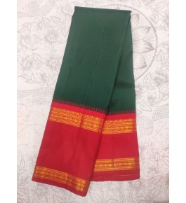 Handloom Molakalmuru Pure Silk Green & Red Saree For Women