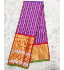 Handloom Molakalmuru Pure Silk Purple & Red Saree For Women